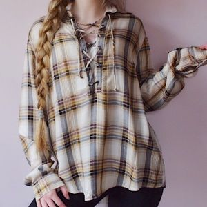 Sky and Sparrow Plaid Lace Up Top